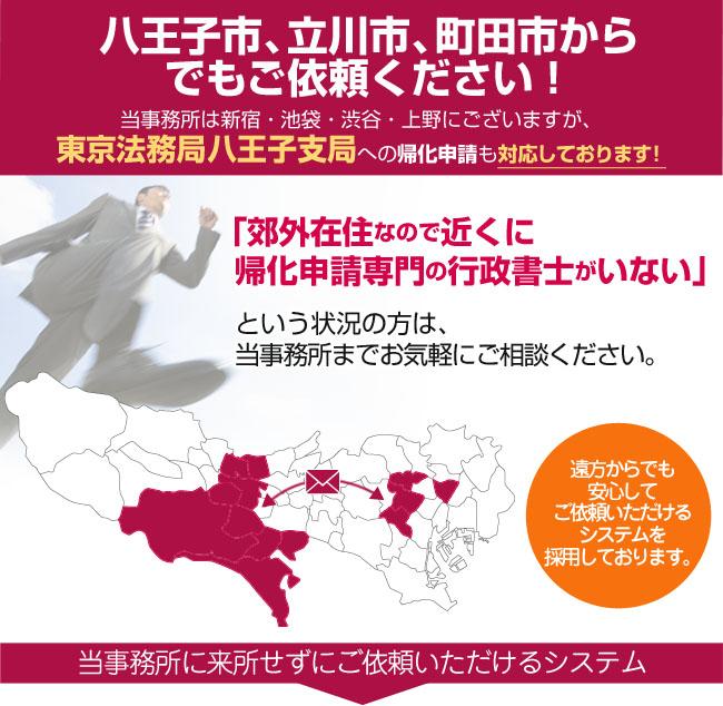 八王子市、立川市、町田市からでもご依頼ください!当事務所は東京にございますが、八王子法務局への帰化申請も対応しております!
